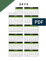 Calendario 2013 - Uma Pagina (Sombra)