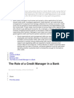 A credit manager is a common job position found at a bank.docx