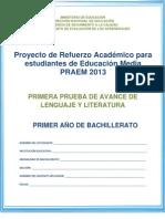 Primera prueba de avance de Lenguaje y Literatura - Primer Año de Bachillerato - 2013.pdf