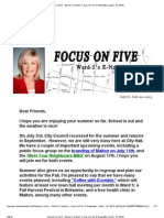 Summer is Here! - Bonnie Crombie's 'Focus on Five' E-Newsletter (July 8 - 22, 2013)