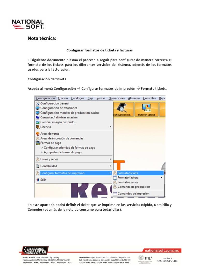 softrestaurant 8 0 configurar formato ticket y factura