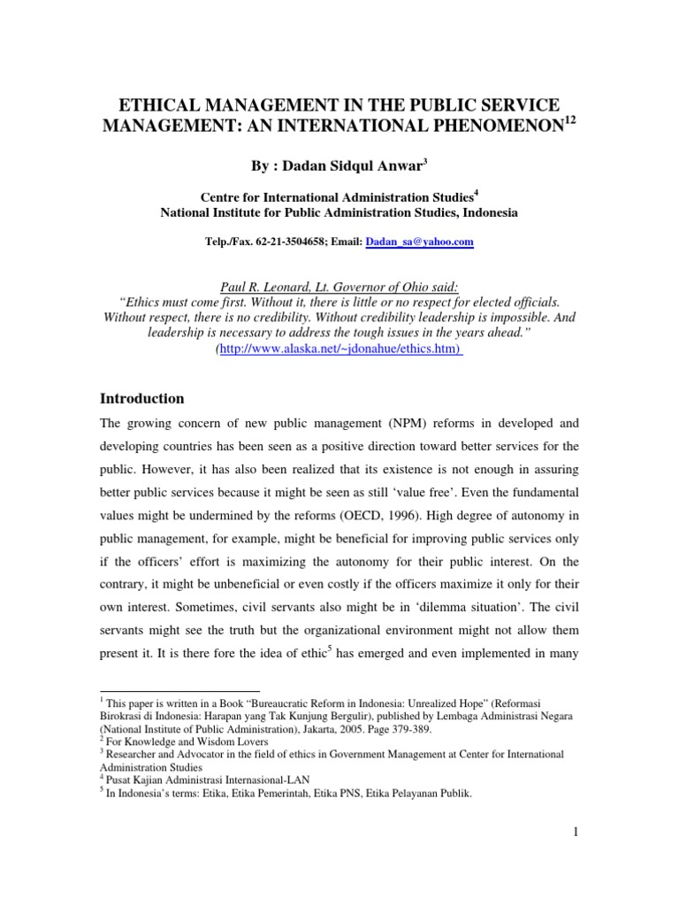 Ethical Management in Public Sector-An International Phenomenon | Value ( Ethics) | Employment