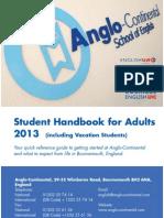 영국 Anglo Continental Adult Student Handbook 2013