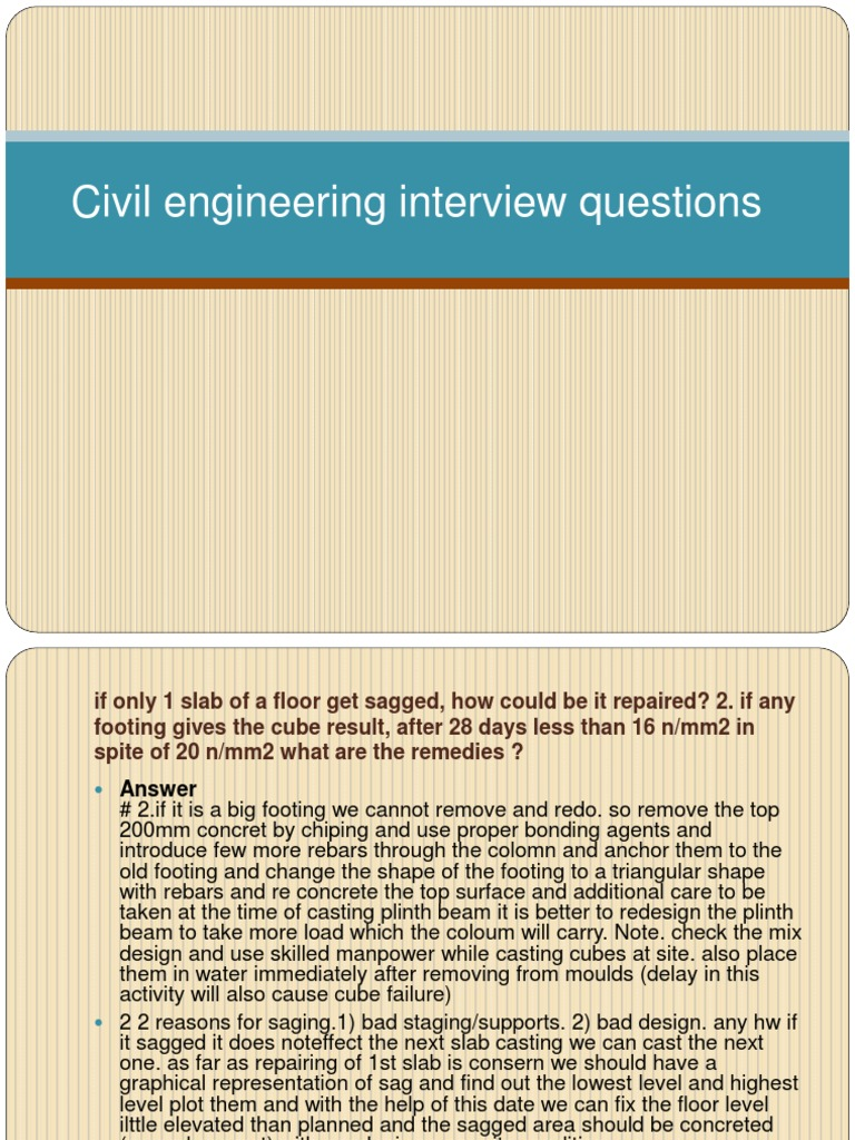 civil engineering interview questions concrete bending