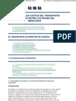 CAPÍTULO 6 - LOS COSTOS DEL TRANSPORTE DE CARGAS ENTRE LOS PAISES DEL MERCOSUR