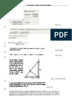Worksheet on Trogonometry and Probability