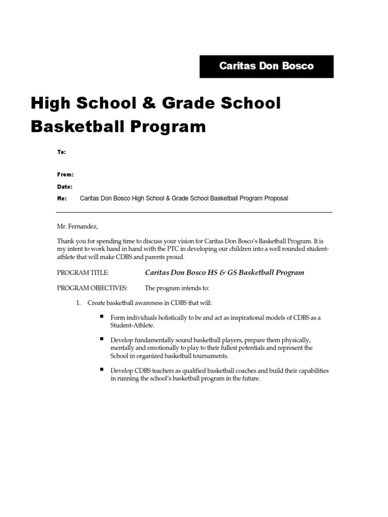 Sample Basketball Program Proposal | Teaching And Learning | Sports