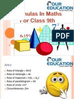 Class 9 Maths Formulas