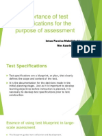 Importance of Test Specifications Week 2