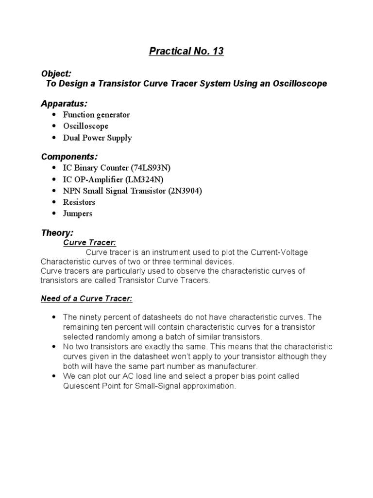 Trans curve tracer   Amplifier   Transistor