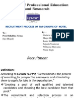 RECRUITMENT PROCESS OF TAJ GROUPS OF  HOTEL