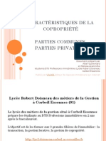 Caractéristiques de la copropriété parties communes parties privatives