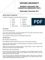 Modern Languages Admissions Tests