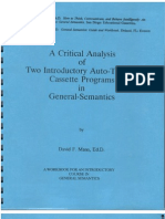 A Critical Analysis of Two Auto-Tutorial Programs in General Semantics