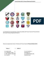 Fisxture Torneo Inicial de Primera Division 2013