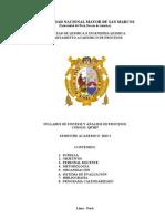 Syllabus de Sintesis y Analisis de Procesos 2013-i