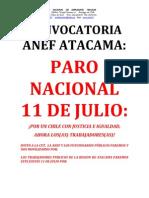 Anef Atacama Convocatoria Paro Nacional 11 de Julio
