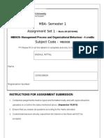 MB0038 Management Process and Organizational Behaviour Set 1