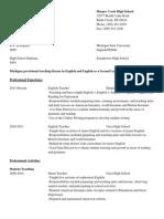 Masters Resume