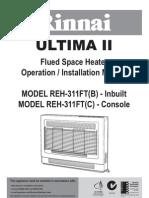 Rinnai Gas Heater Installation Manual - REH-311FTB Ultima Mkii also REH-301