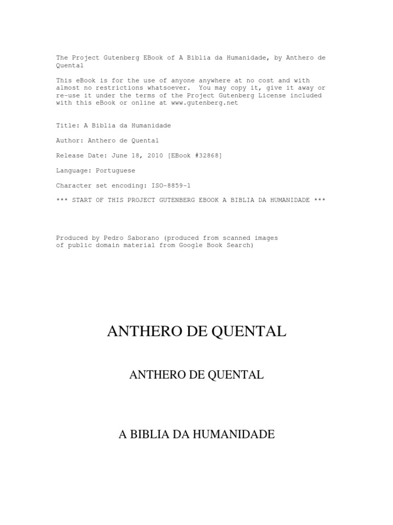 A biblia da humanidade de antero tarquinio de quental fandeluxe Choice Image