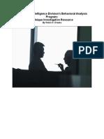 FBI Counterintelligence Division's Behavioral Analysis Program -A Unique Investigative Resource
