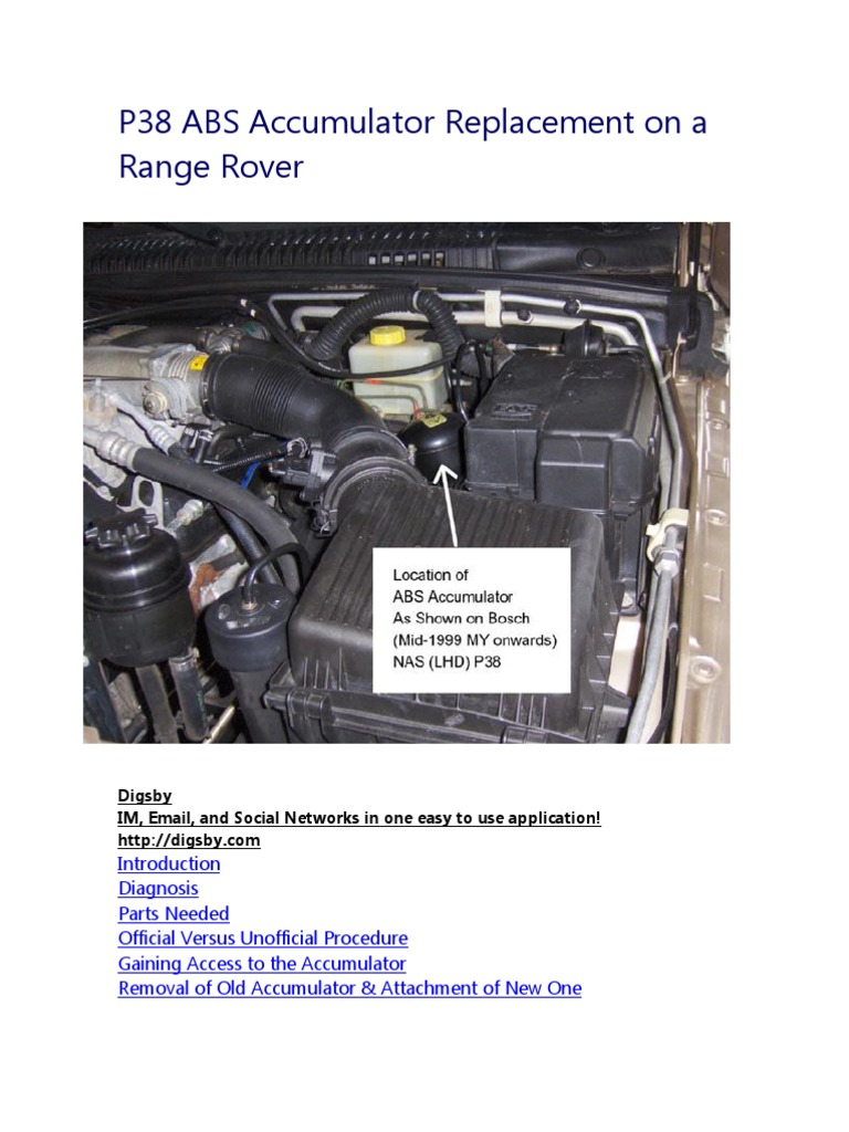 Range Rover P38 Fuse Diagram Basic Wiring Schematic 1995 Classic Box Location Abs Accumulator Replacement On A Anti Lock Braking Off Road