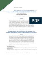 RELACIÓN ENTRE VARIABLES PSICOSOCIALES Y RENDIMIENTO ACADÉMICO EN ESTUDIANTES DE PRIMER SEMESTRE DE PSICOLOGIA