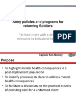 Army Policies and Programs for Returning Soldiers