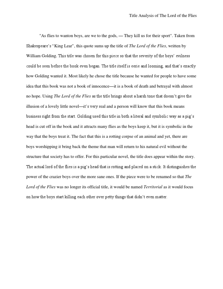 the lord of the flies title analysis essay