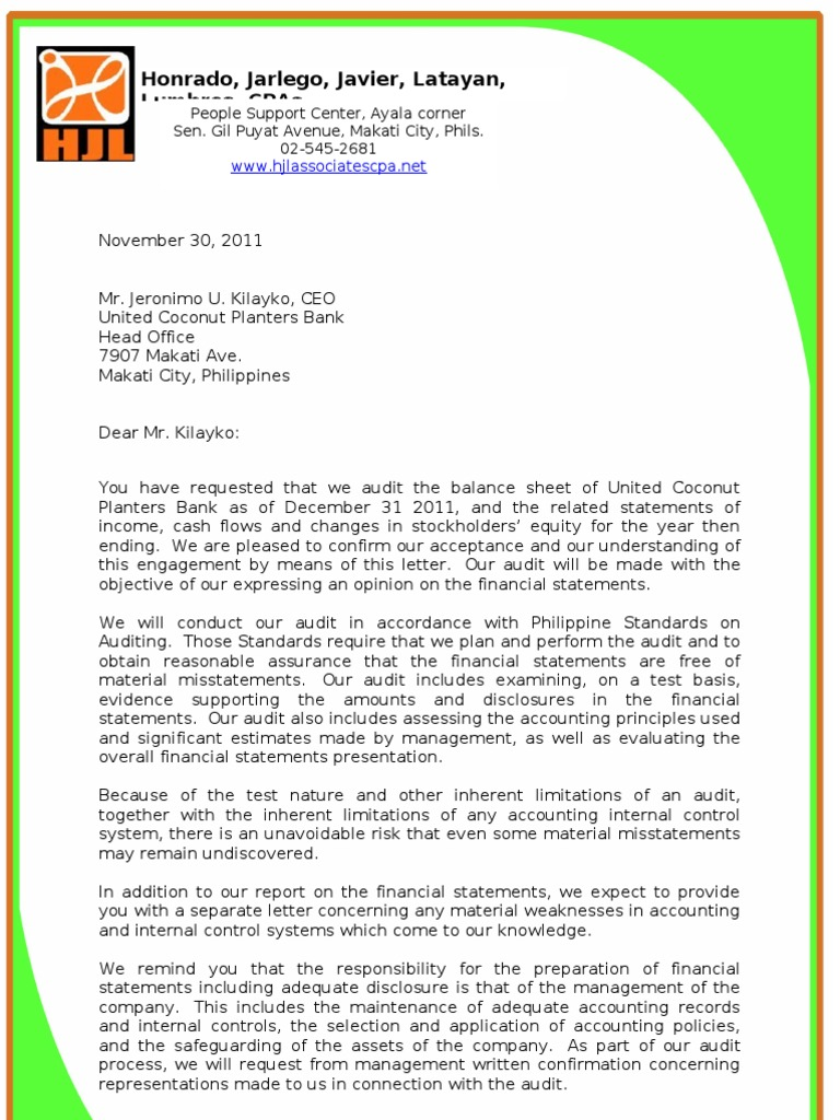 Audit engagement letter management representation letter for Cpa engagement letter template