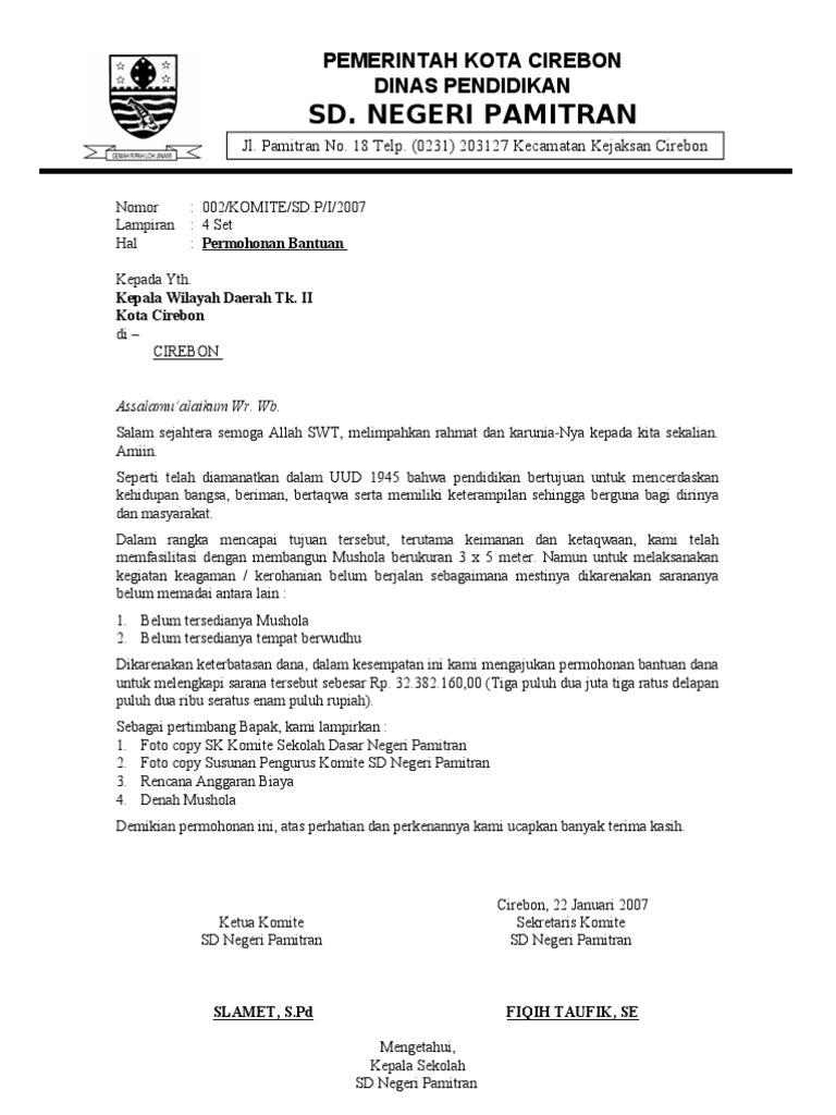 Contoh Proposal Permohonan Bantuan SD