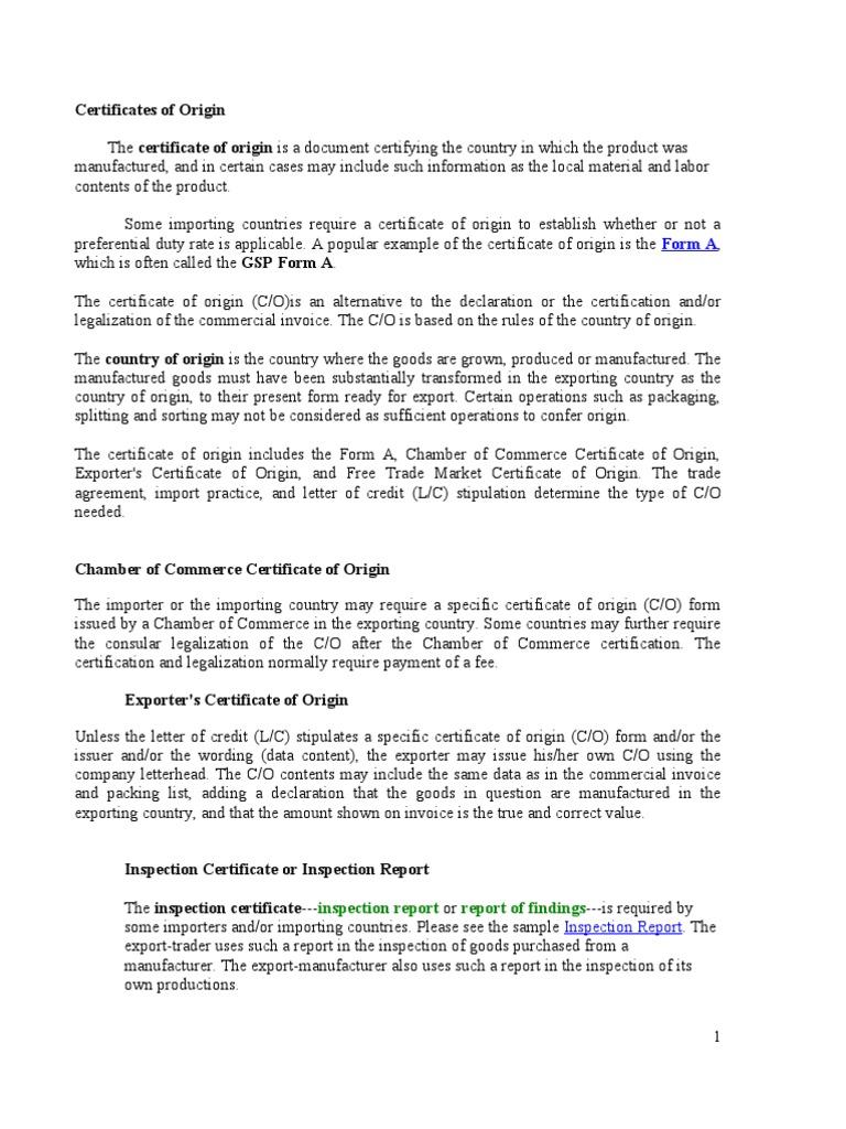 Certificates Of Origin Trade International Trade