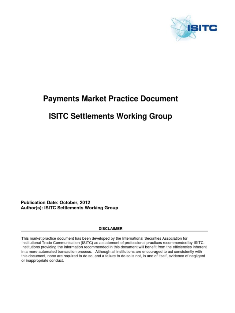 Market Practice Documents_Payment Working Group_Payment Market