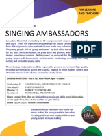 Lancashire Music Hub  Seeking Singing Ambassadors