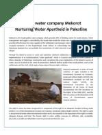 Mekorot Factsheet - Water Apartheid in Palestine