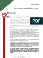 Lettre aux adhérents - Mathieu Klein - Juillet 2013