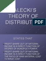 KALECKI'S THEORY OF DISTRIBUTION