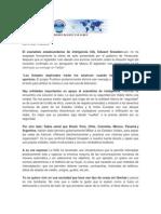 Nota de Prensa.-agente Snowden Despista Su Paradero y Sudamerica Sabe Espionaje