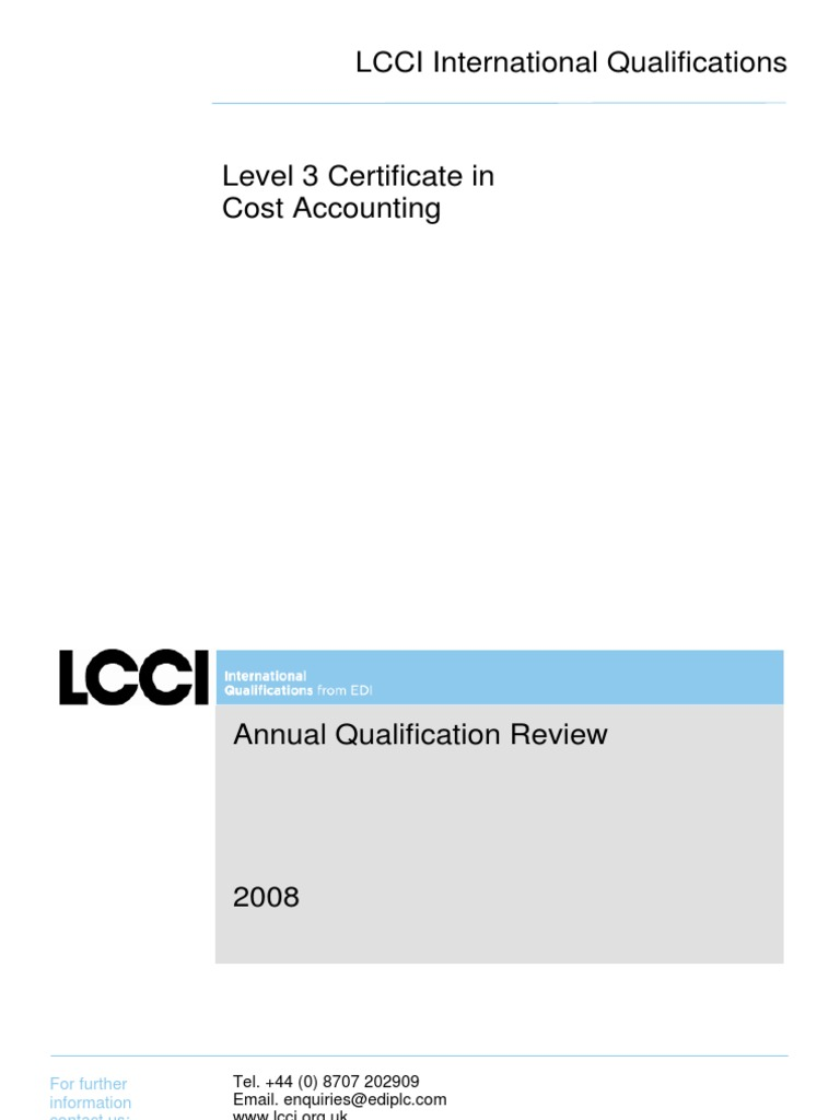 Level 3 Certificate In Cost Accounting Profit Accounting
