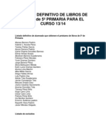 LISTADO DEFINITIVO DE LIBROS DE TEXTO de 5º PRIMARIA PARA EL CURSO 13
