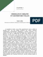 Croissance Urbaine Et Gestion Des Villes