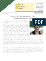 american geosciences institute congressional science fellow 2013-2014