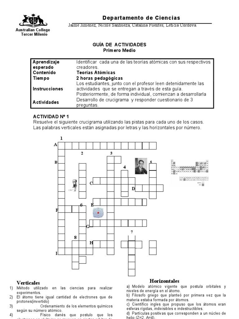 Crucigrama el atomo guia de quimica prueba tabla periodica urtaz Image collections