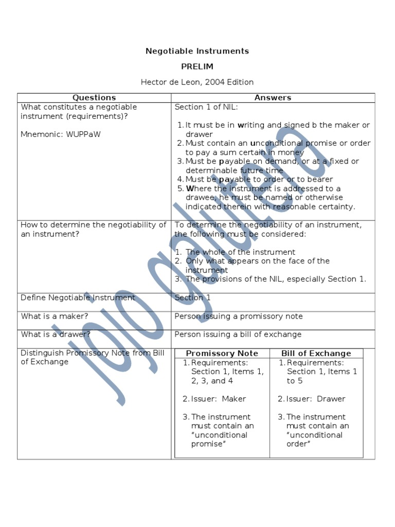 Negotiable Instruments  Prelim Reviewerfinal  Negotiable Instrument   Promissory Note