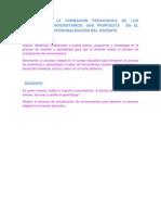 Leectura de La Formacion Pedagogica de Los Profesores Universitarios
