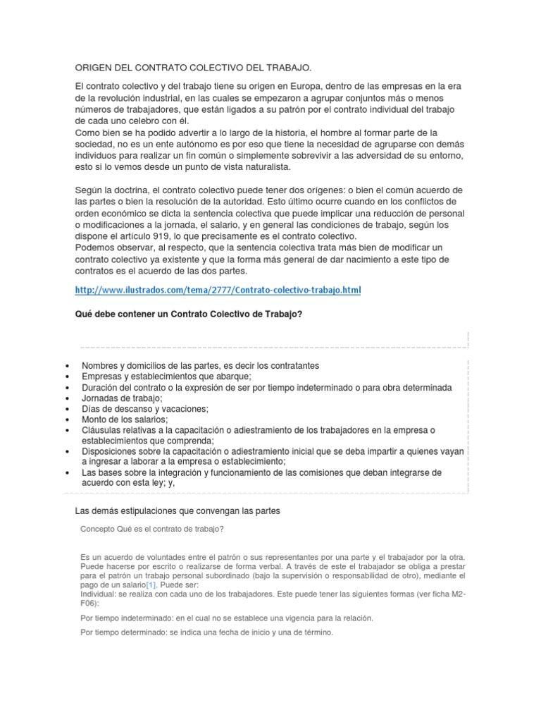 Origen Del Contrato Colectivo Del Trabajo Docx
