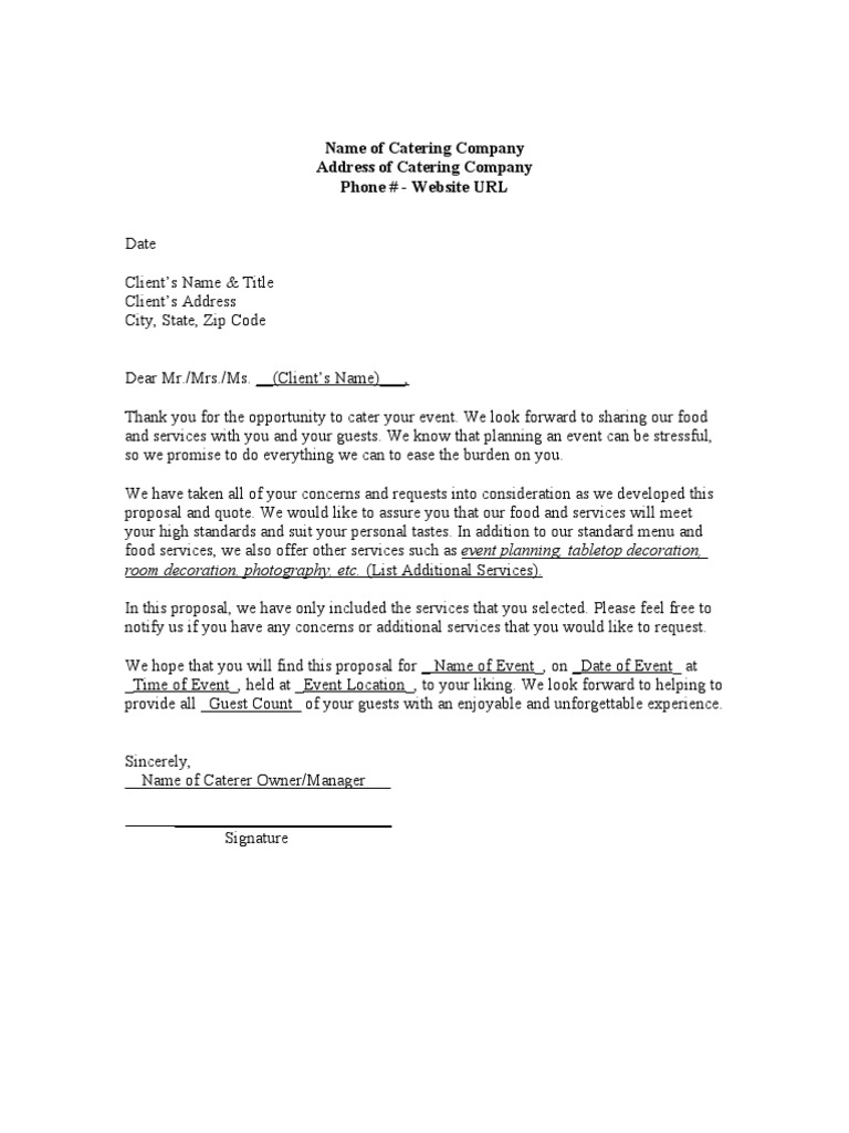 catering letter to client Catering Proposal