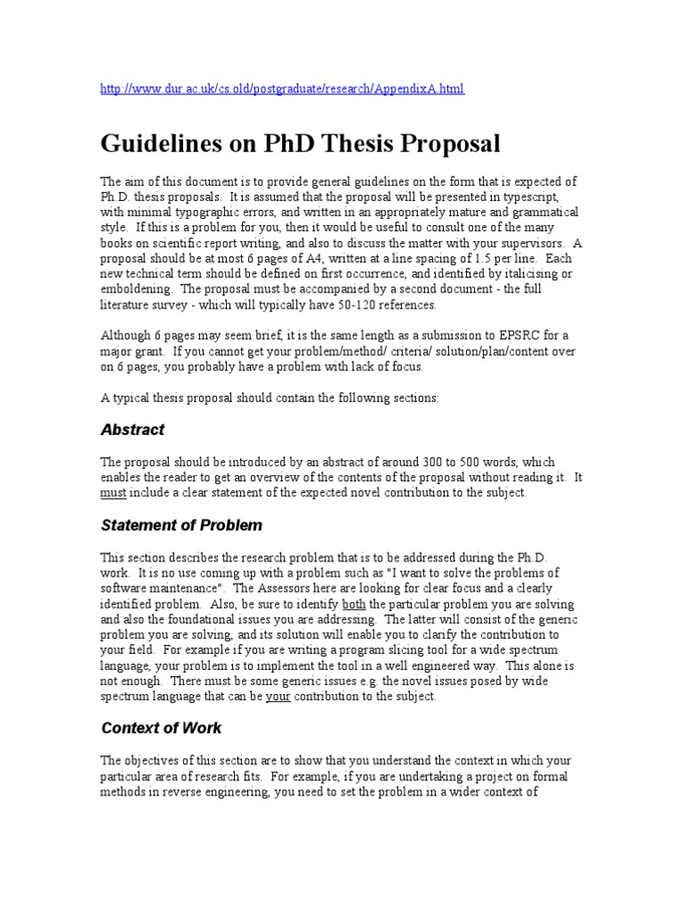 PhD thesis Research Proposal - Departmental requirements - MathsDept