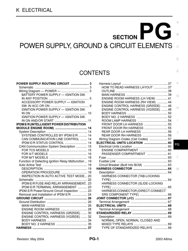 Nissan Altima 2003 Fuse Box Diagram Wiring 2 5 Serivce Manual Pg Electrical Ac